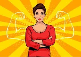 vector, strong woman with hands crossed and fierce look. Muscular hands outline at each side of her body