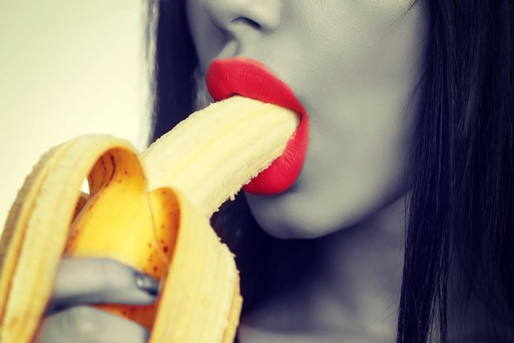 blowjob concept woman with banana