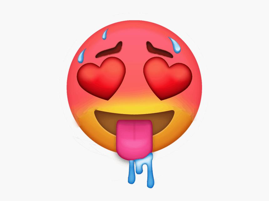 blushing, sweating, drooling heart eye emoji
