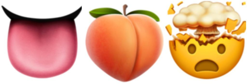 tongue emoji, peach emoji, mind blown emoji