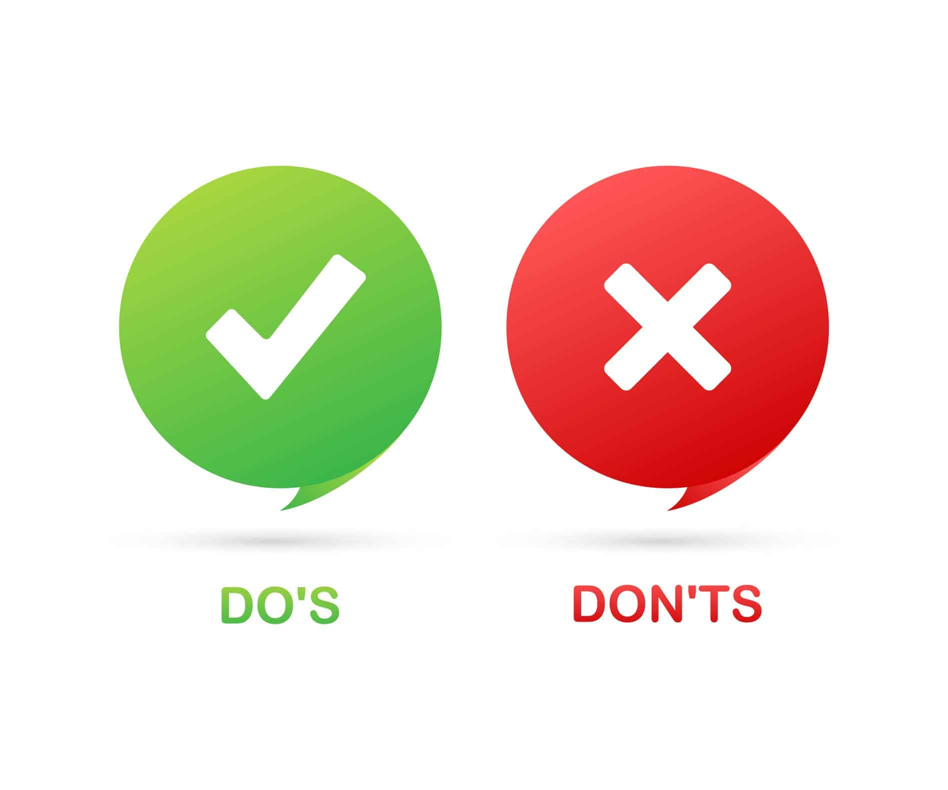 Do's and Don'ts like thumbs up or down. flat simple thumb up symbol