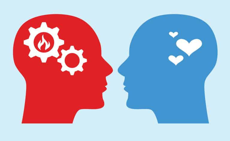 illustration of emotional turmoil - two heads in different colors, one has gears inside it and the other has a heart symbol