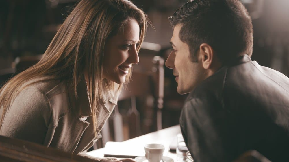 romantic couple in a restaurant
