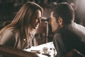 romantic couple in a restaurant