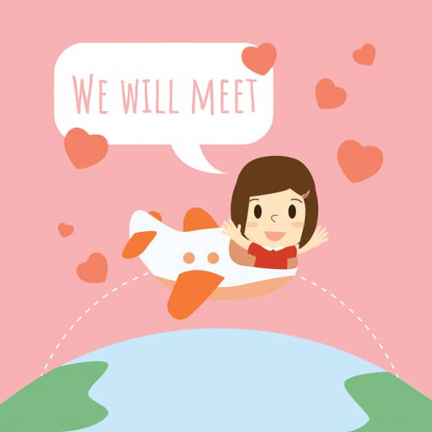 "vector of a woman on a plane flying across the globe with hearts surrounding her and text ""we will meet"""