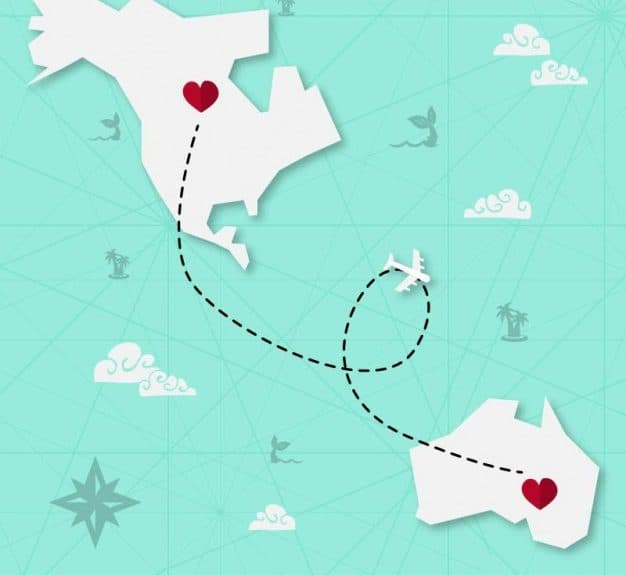 long distance relationship illustration, two hearts connected through trail on different continents on world map