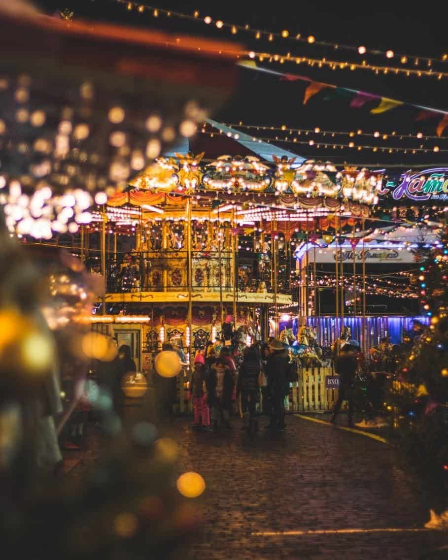 large crowed at a Christmas market